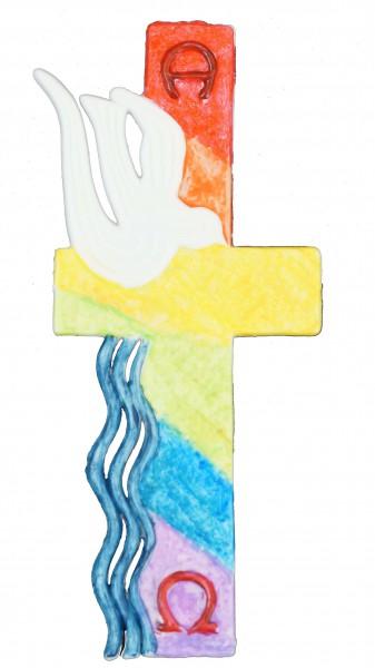 Wachsornament Kreuz Regenbogen 14 cm