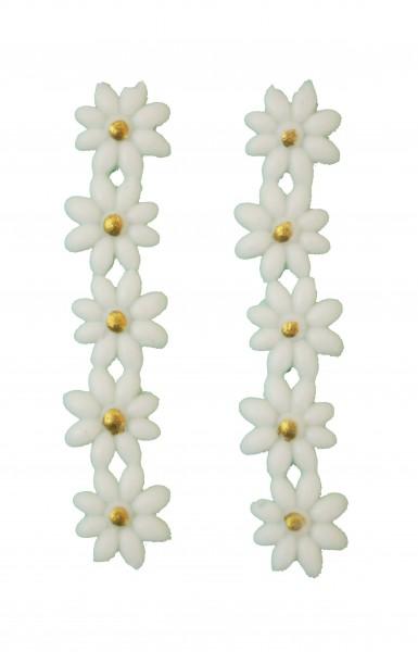 Blumen weiß/gold 1 cm, 10 Stück
