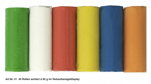 Plastilin 40 Rollen je 60 g, 6 Farben, Display
