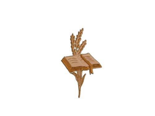 Bibel mit Ähren weiß/gold, 11 cm