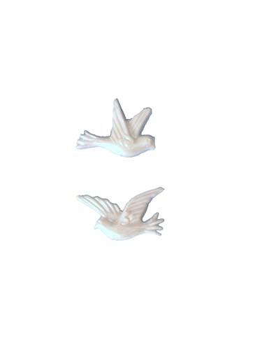 Tauben weiß perlmutt 2,5 cm, 2 Stück